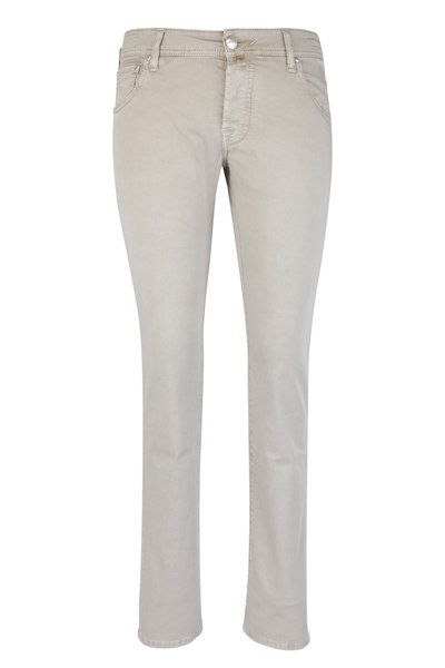 Jacob Cohen - Tan Gabardine Five-Pocket Jean