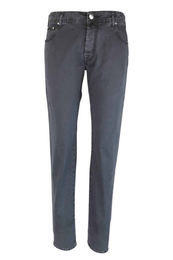 Jacob Cohen  Gray Gabardine Five Pocket Jean