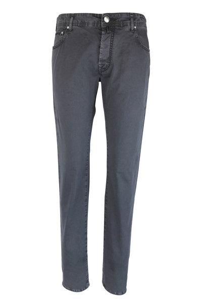 Jacob Cohen - Gray Gabardine Five Pocket Jean