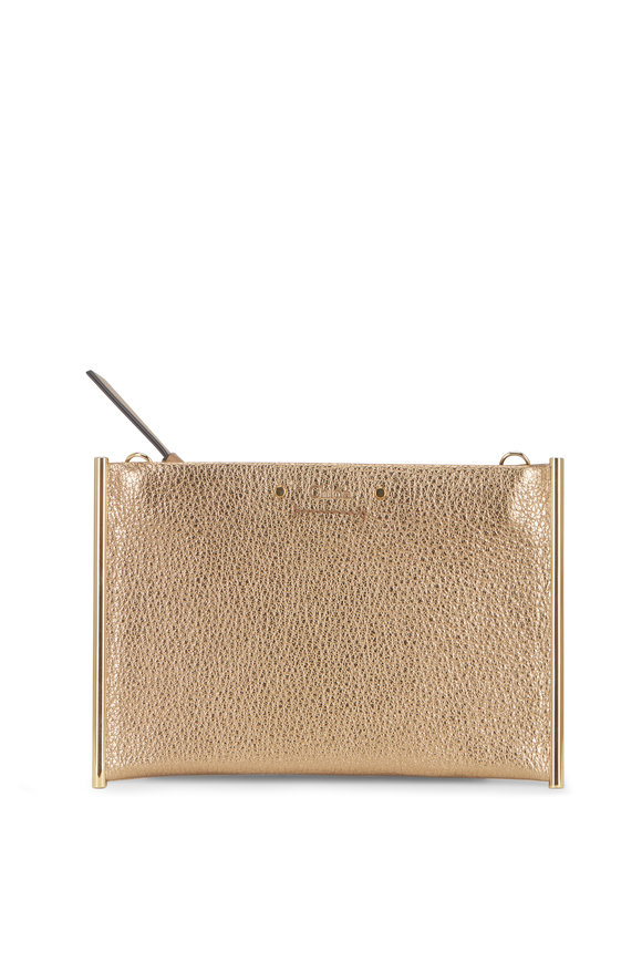 Chloé Roy Metallic Gold Pouch Mini Crossbody Bag