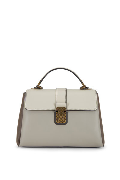 Bottega Veneta - Piazza Steel Gray Leather Small Top Handle Bag