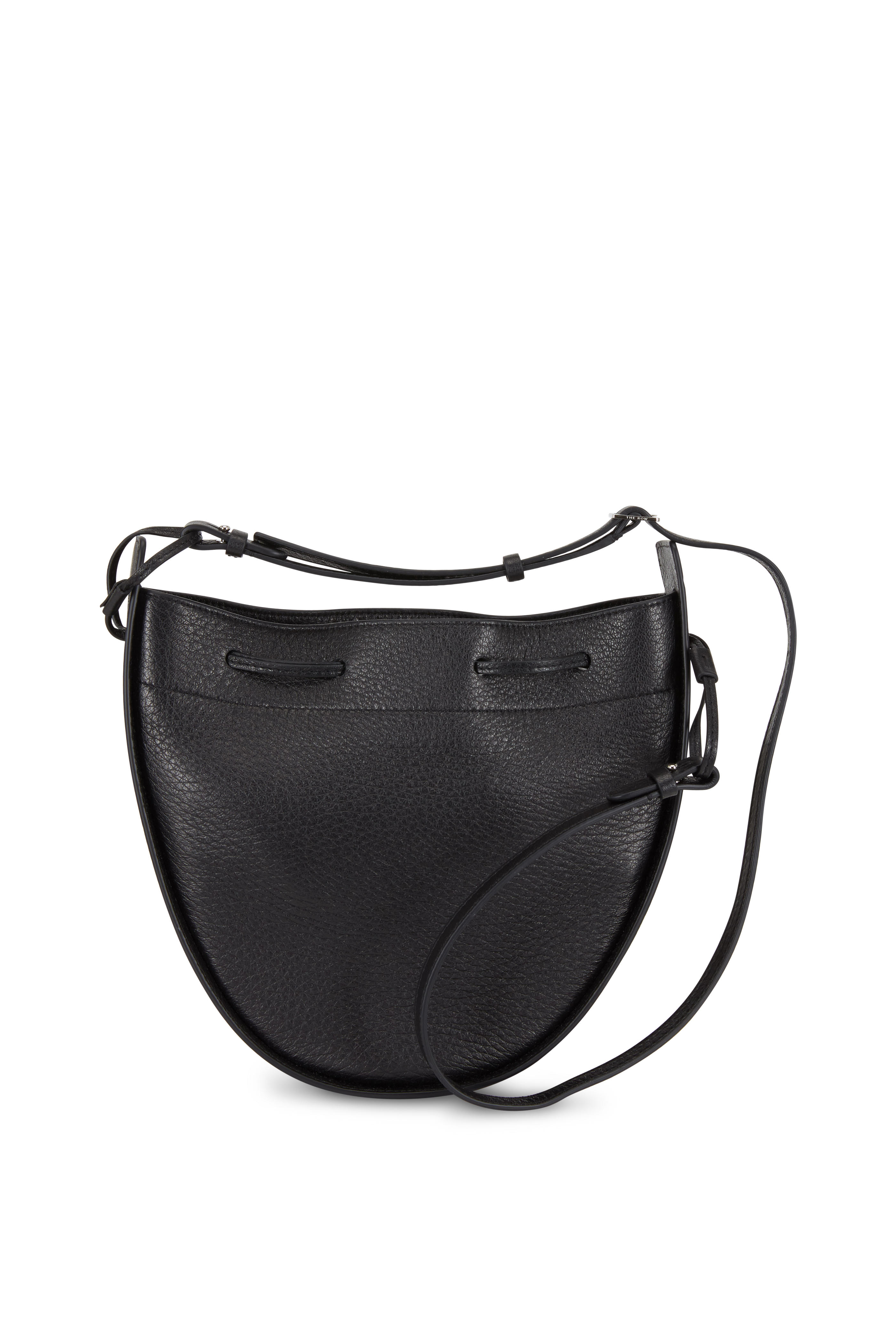 The Row Black Leather Drawstring Pouch Crossbody Bag