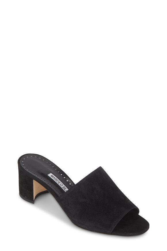 Manolo Blahnik Rapallato Black Suede Slide Sandal, 50mm