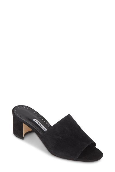 Manolo Blahnik - Rapallato Black Suede Slide Sandal, 50mm