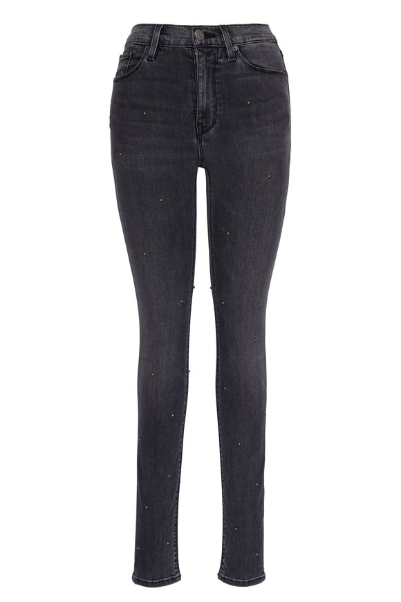 Hudson Clothing Barbara Grey Studded High Waist Skinny Jean