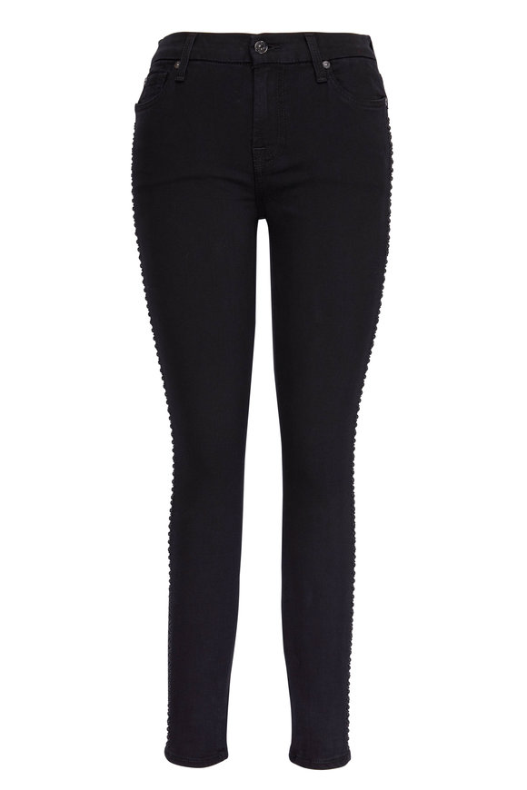 7 For All Mankind B(air) Black Ankle Skinny Crystal Jean
