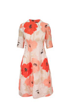 Lela Rose - Holly Coral Multi Elbow Sleeve Dress