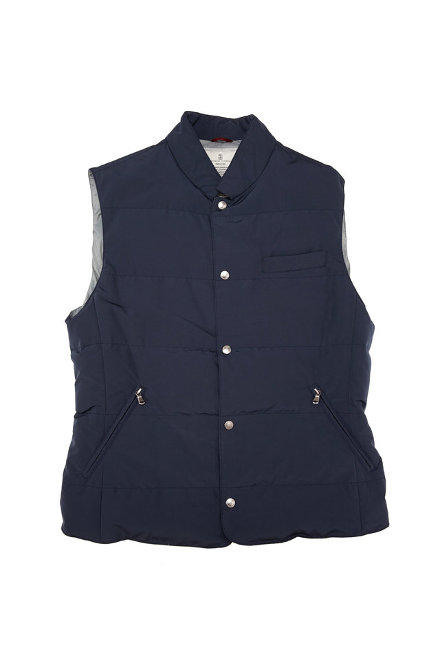 Navy Blue Microfiber Snap Vest