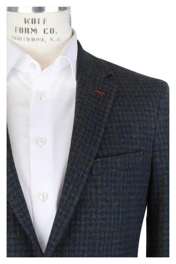 Samuelsohn Blue & Green Wool, Silk & Linen Check Sportcoat