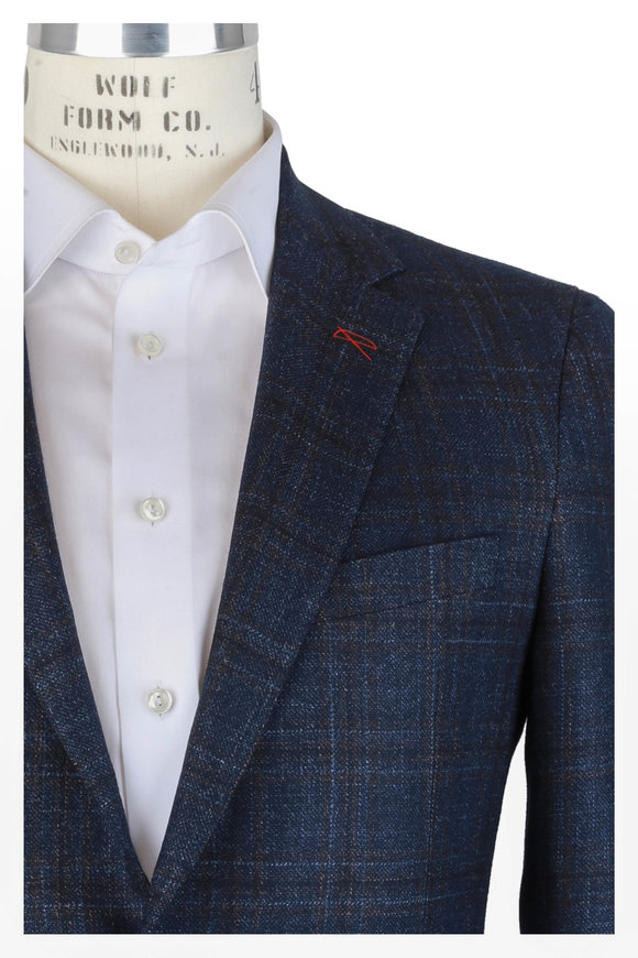 Samuelsohn Navy Blue Wool, Silk & Cashmere Plaid Sportcoat
