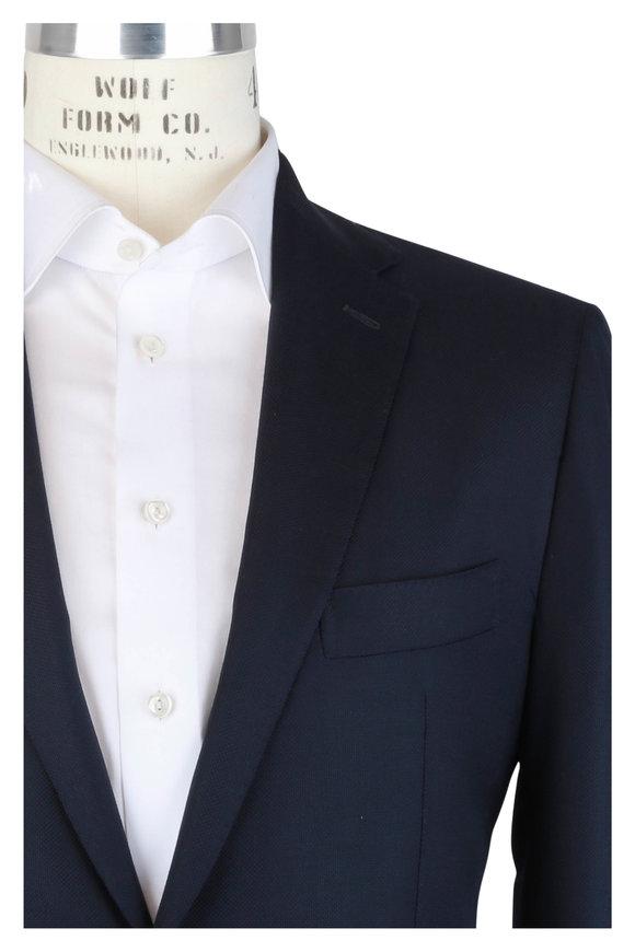 Mauro Blasi Navy Blue Wool Hopsack Sportcoat
