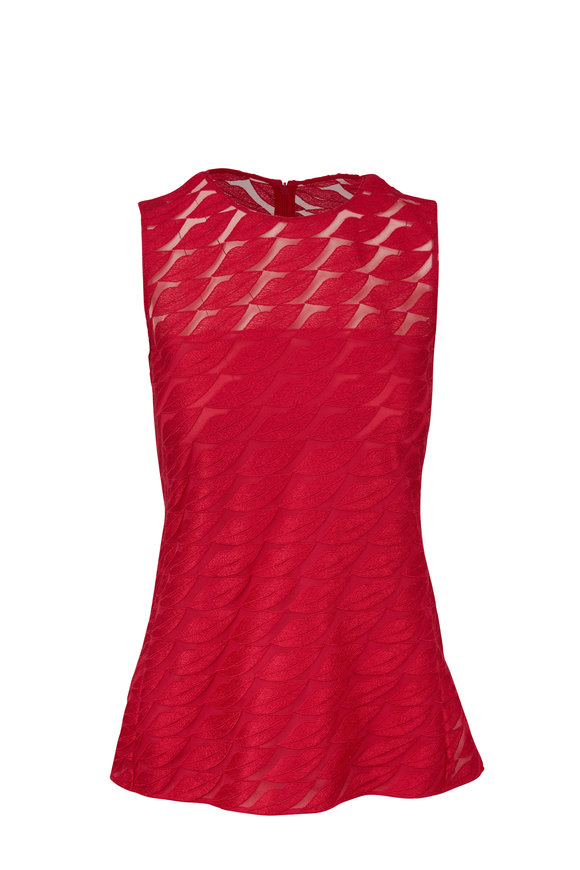 Akris Pink Embroidered Lips Sleeveless Blouse