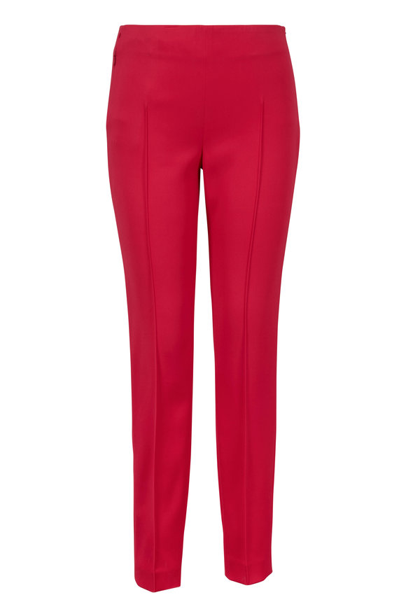 Akris Melissa Pink Stretch Silk Side-Zip Pant