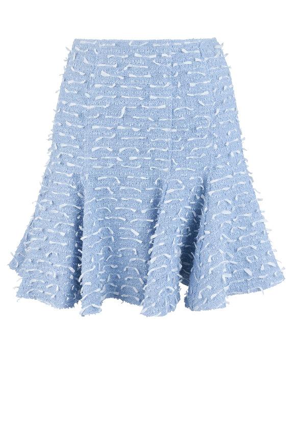 Oscar de la Renta Light Blue & White Tweed Fringe Skirt