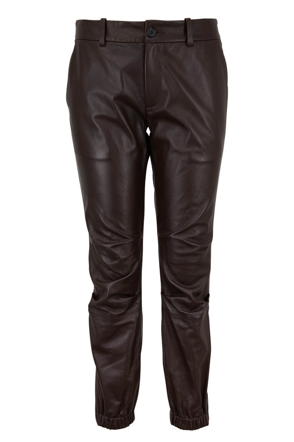 Nili Lotan Brown Leather French Military Crop Pant