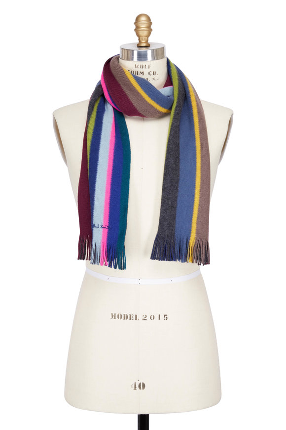 Paul Smith Multicolor Striped Double Faced Scarf