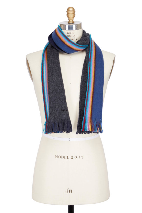 Paul Smith Gray & Navy To Multicolor Double-Faced Wool Scarf