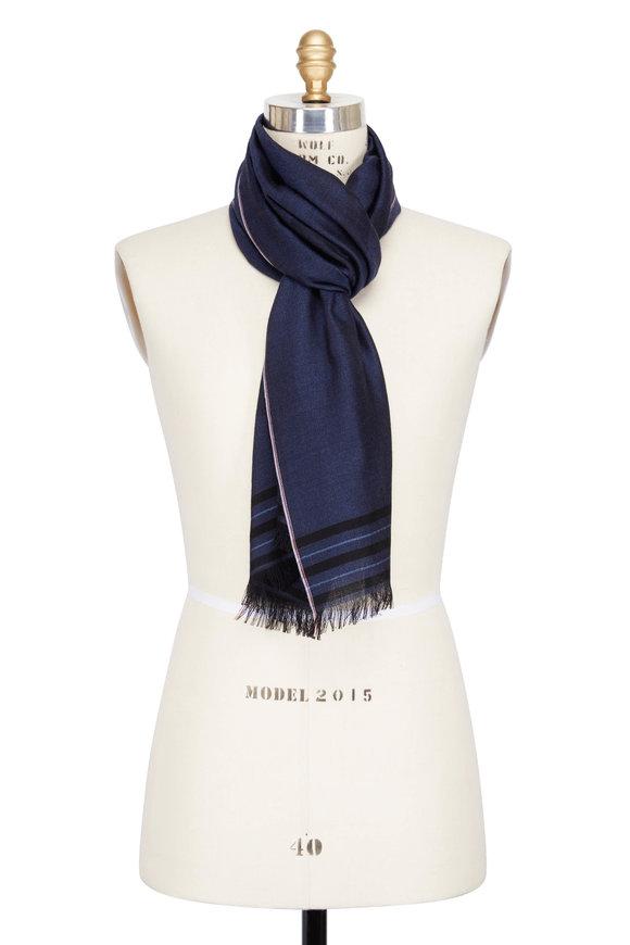 Isaia Blue Cashmere & Silk Coral Logo Scarf