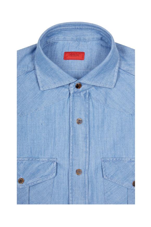 Isaia Denim Herringbone Western Sport Shirt