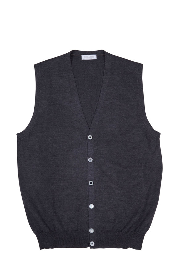 Gran Sasso Charcoal Grey Merino Wool Vest