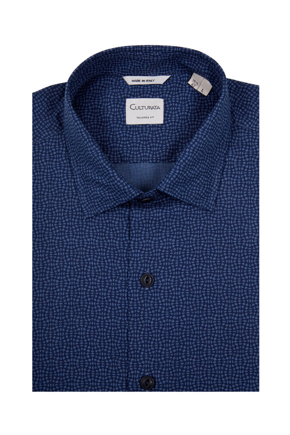 Culturata Blue Print Cotton Sport Shirt