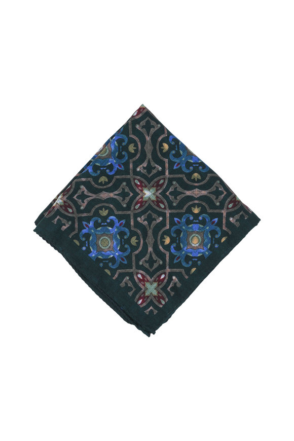 Calabrese Hunter Green Floral Wool Pocket Square