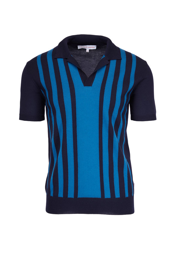 Orlebar Brown Horton Navy & Scuba Blue Striped Polo