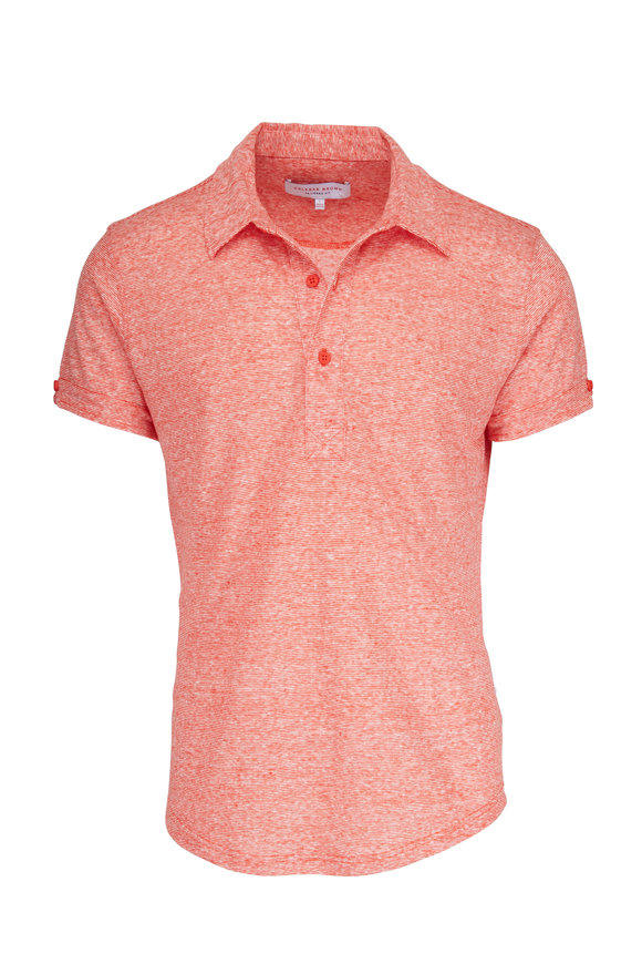Orlebar Brown Sebastian Hacienda Red Linen Polo