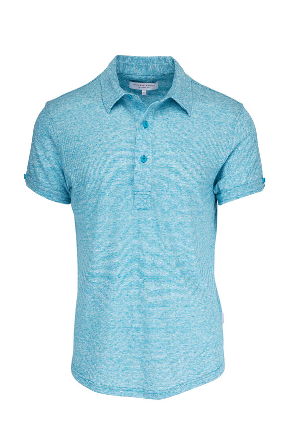 Orlebar Brown Sebastian Scuba Blue Linen Polo