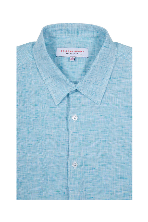 Orlebar Brown Morton Scuba Blue Linen Sport Shirt