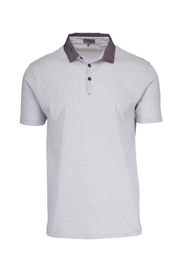 Lanvin White & Grey Striped Pique Polo