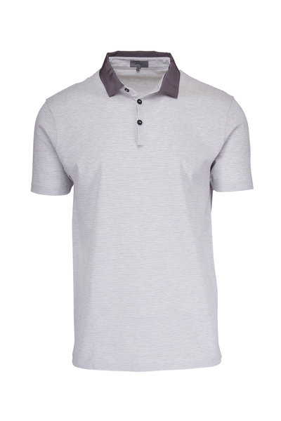 Lanvin - White & Grey Striped Pique Polo