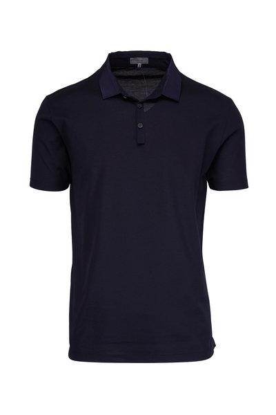 Lanvin - Navy Grosgrain Collar Polo