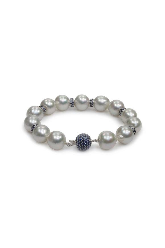 Belpearl 18K White Gold South Sea Pearl & Sapphire Bracelet