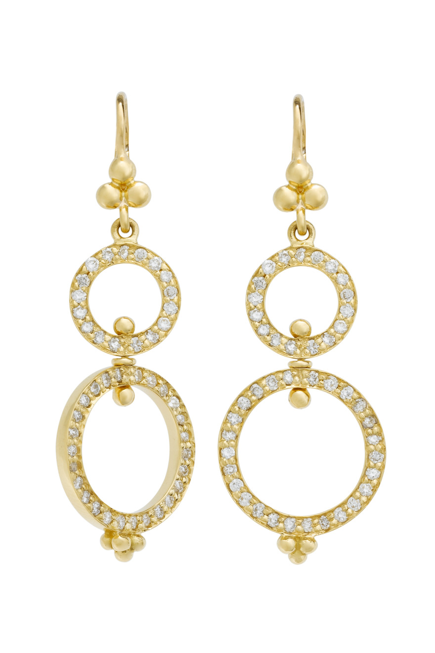 18K Gold Diamond Spinning Ring Earrings