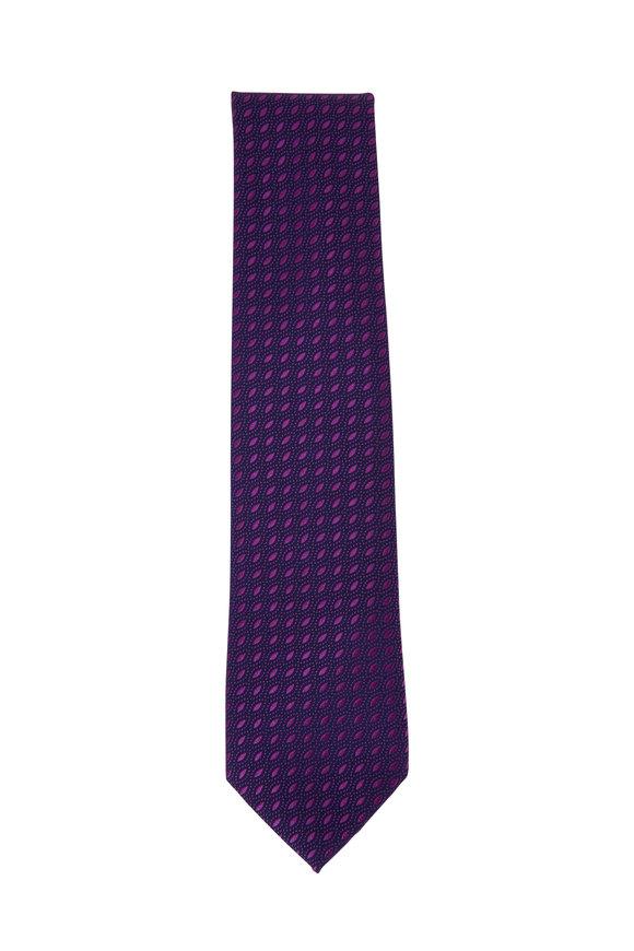 Charvet Purple Dot Silk Necktie