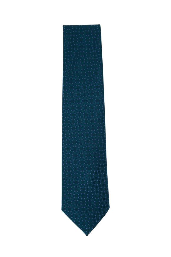 Charvet Green & Light Blue Dot Silk Necktie