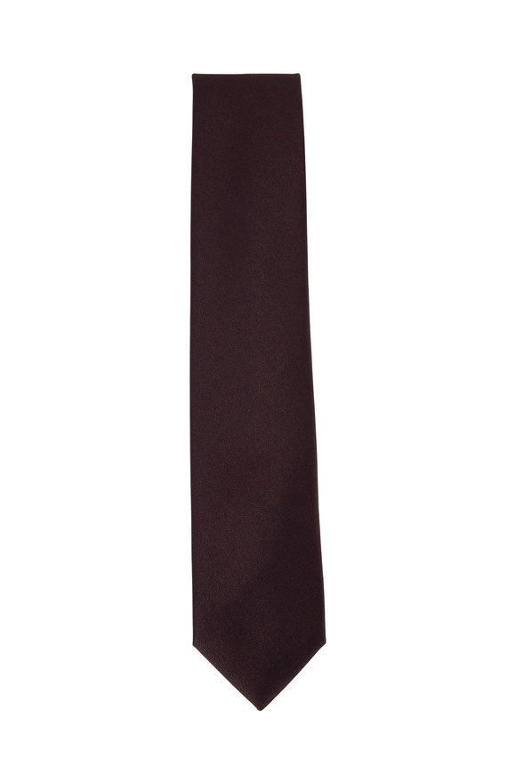 Charvet Brown Silk & Wool Neat Necktie