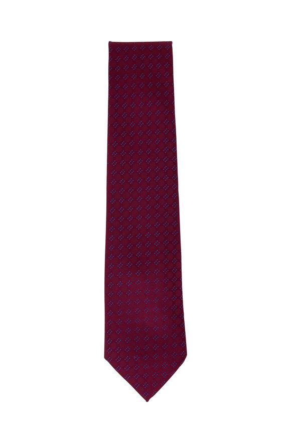 Charvet Burgundy & Blue Geometric Silk Necktie