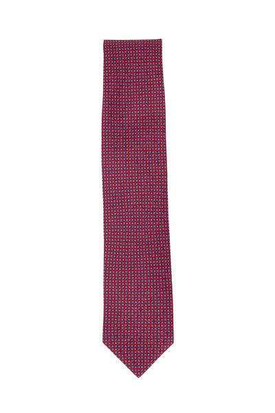 Brioni - Red & Blue Circles Silk Necktie