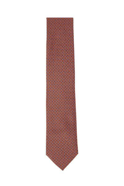 Brioni - Orange & Light Blue Circles Silk Necktie