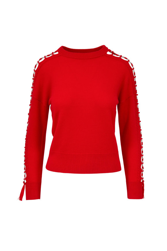 Jonathan Simkhai Fire Red Wool Open Hoop Sleeve Sweater