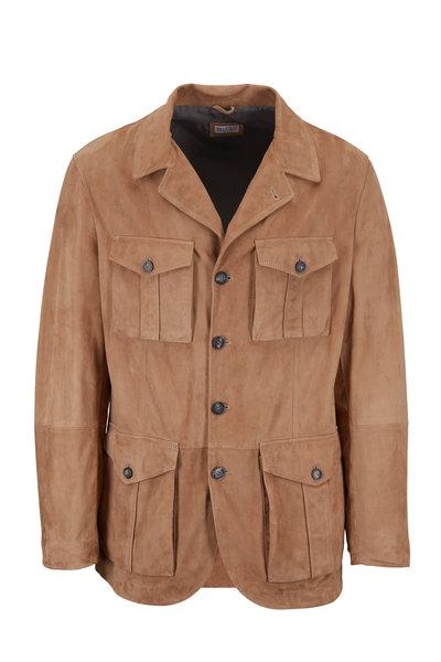 Brunello Cucinelli - Tan Suede Safari Jacket