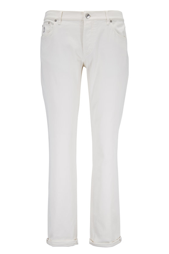 Brunello Cucinelli Off-White Traditional Fit Five-Pocket Jean