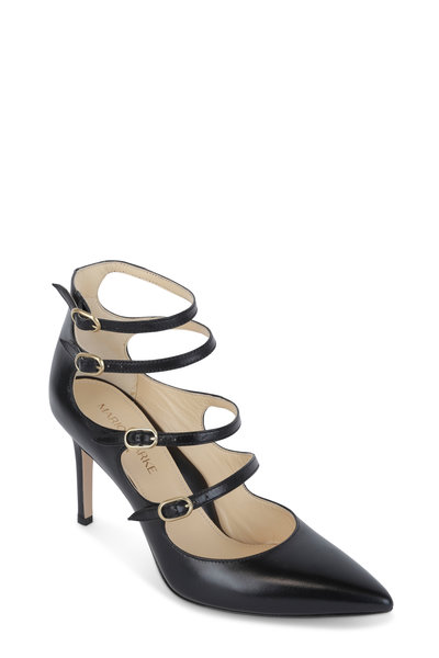 Marion Parke - Mitchell Black Leather Mary Jane Pump, 85mm