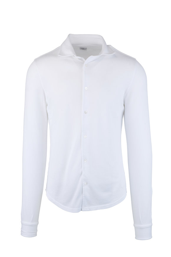 Fedeli Frost White Long Sleeve Piquè Polo