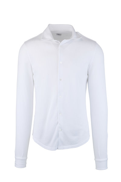 Fedeli - Frost White Long Sleeve Piquè Polo
