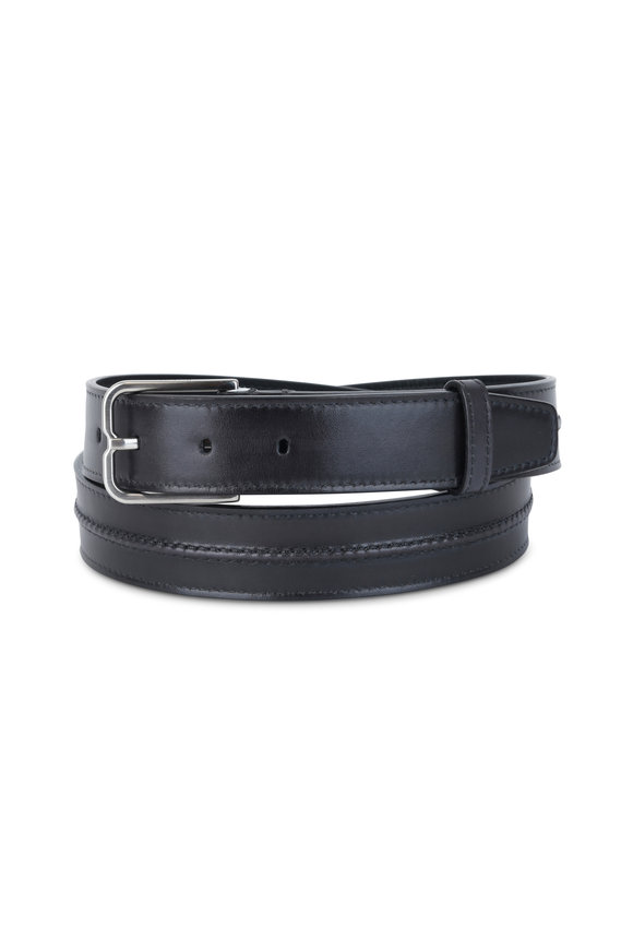 Berluti Black Leather Raised Seam Belt