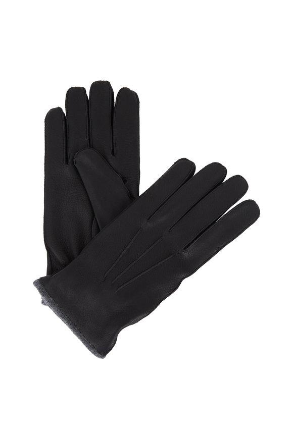 Portolano Black Deerskin Cashmere Lined Gloves