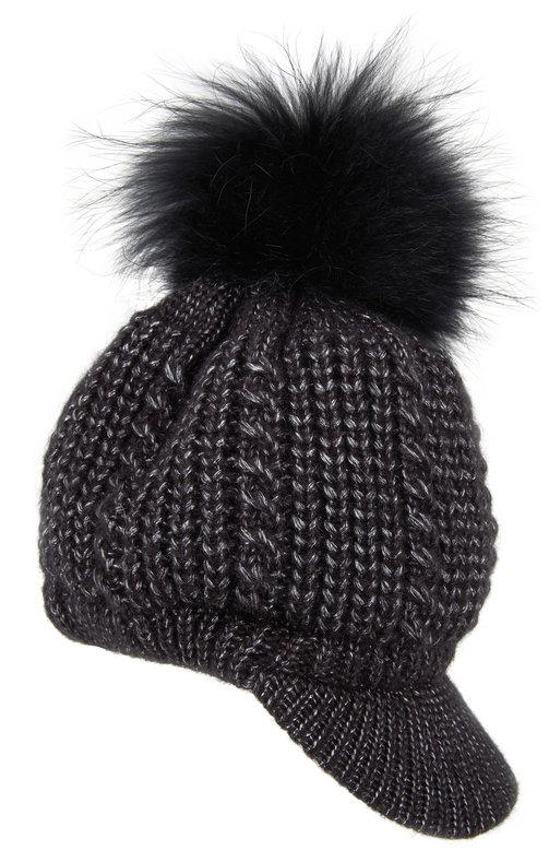 Viktoria Stass Black Fur Pom Pom Knit Beret